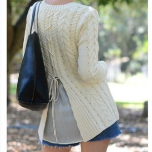 Cabi 3157 Cream Lace Up Back Knit Pullover Sweater